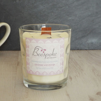 Aromatherapy Lavender and Orange Soy Wax Wood Wick Crackle Candle