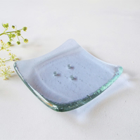 Fused Glass Small Soap Dish, lavender tint