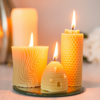 Set of 3 Pure Beeswax Candles in a Gift Box Ribbon Tied