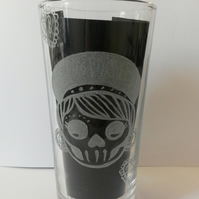 Hand engraved tumbler glass, day of the dead glass, Sugar skull