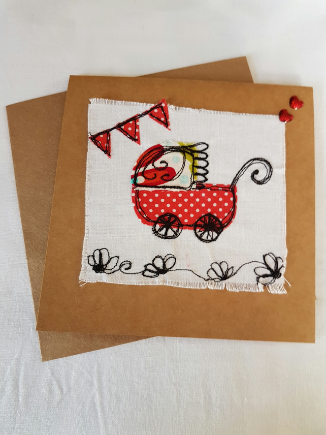 New baby free motion embroidery greetings card
