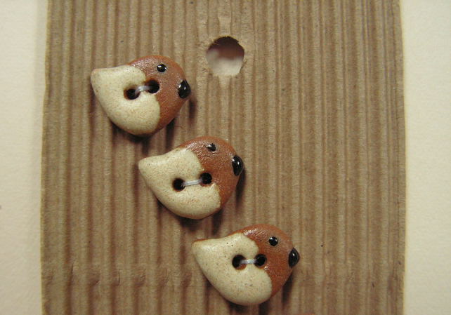 5 ceramic tiny cream and brown bird buttons