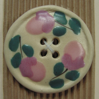 Large cream ceramic button with pink flowers