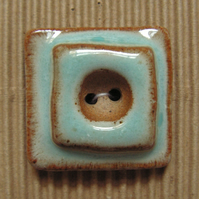 Set of 3 blue and brown shabby chic ceramic buttons
