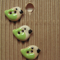 Set of 5 ceramic tiny green and cream bird buttons