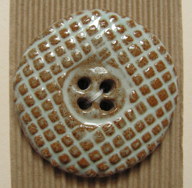 Set of 2 large round blue and brown crosshatch pattern buttons
