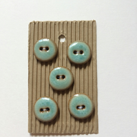 Set of 5 round ceramic turquoise and brown buttons