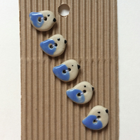 Set of 5 tiny ceramic blue bird buttons