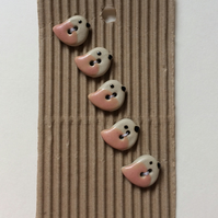 Set of 5 baby pink bird buttons
