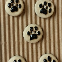 Set of 5 ceramic dog paw print buttons