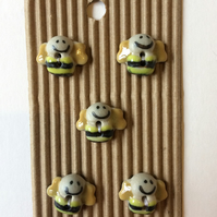 Set of 5 ceramic bee buttons