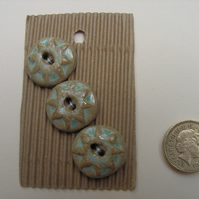 Shabby chic ceramic blue and brown star buttons
