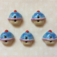 Set of 5 cute ceramic cupcake buttons