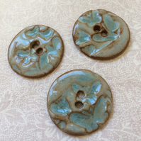 3 blue and brown ceramic butterfly pattern buttons
