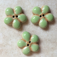3 Lime green ceramic flower buttons