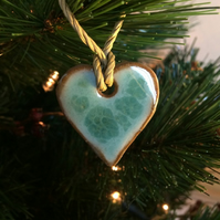 Ceramic christmas heart decoration in duck egg blue and brown