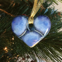 Stunning blue ceramic heart Christmas tree decoration