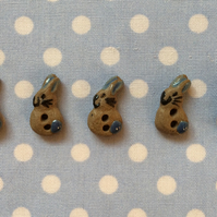 Set of 5 tiny ceramic bunny buttons