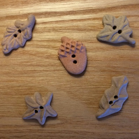 Set of 5 brown ceramic autumn leaf and acorn buttons