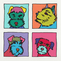 Dog Greeting Card, Pop Art Terriers