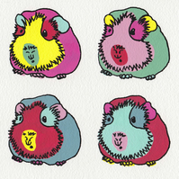 Guinea Pig Pop Art Greeting Card