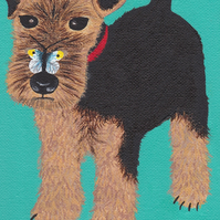 Welsh Terrier Puppy with Butterfly greeting card