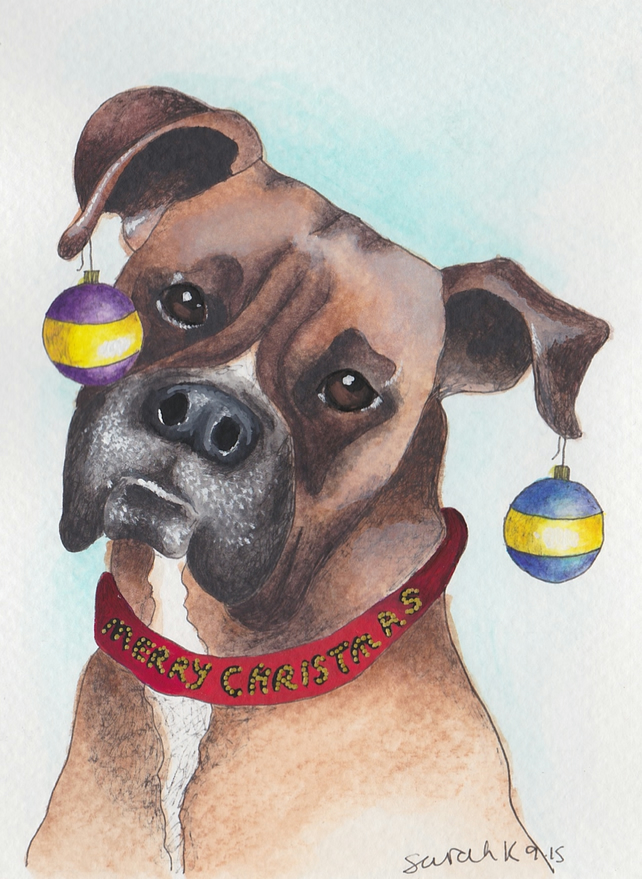 Boxer dog Christmas card