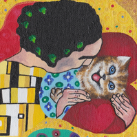 Cat greeting card Cat Kiss, inspired by Klimt