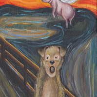 Dog Scream and flying pig greeting card