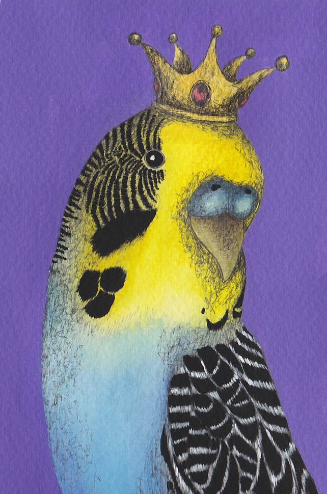 Budgie Greeting Card, King Budgie on purple background