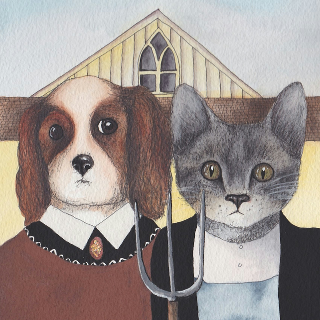 American Gothic inspired dog and cat card
