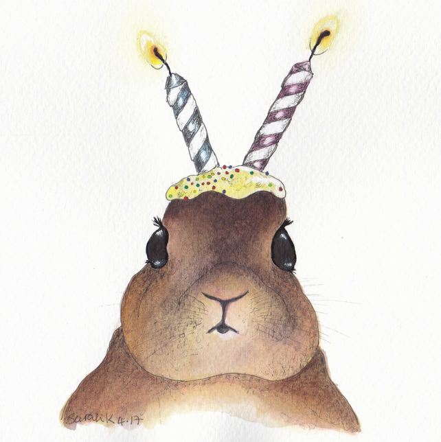 Rabbit with Candle Ears Greeting Card