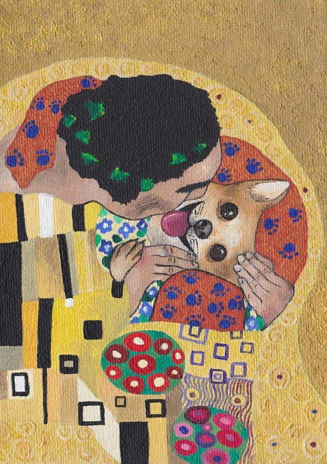 Klimt style Kiss with dog print of an acrylic painting, signed and framed
