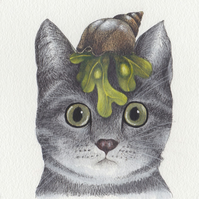 Cat greeting card - Grey cat with seashell.