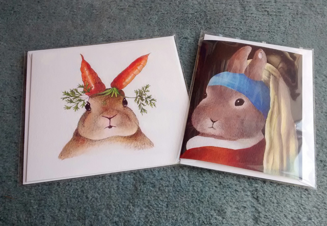 Rabbit with carrot ears and Rabbit with a Pearl Earring, 2 Rabbit cards!