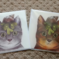 Cats with seashells, 2 cat cards!