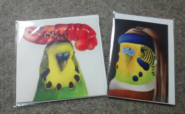Budgie with lobster and Budgie with a Pearl Earring, 2 Budgie cards!