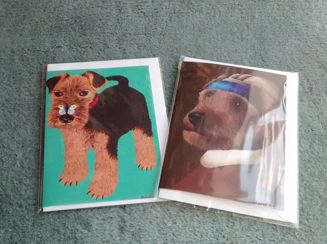 Puppy with butterfly and Terrier with a Cherry Earring, 2 Welsh Terrier cards!