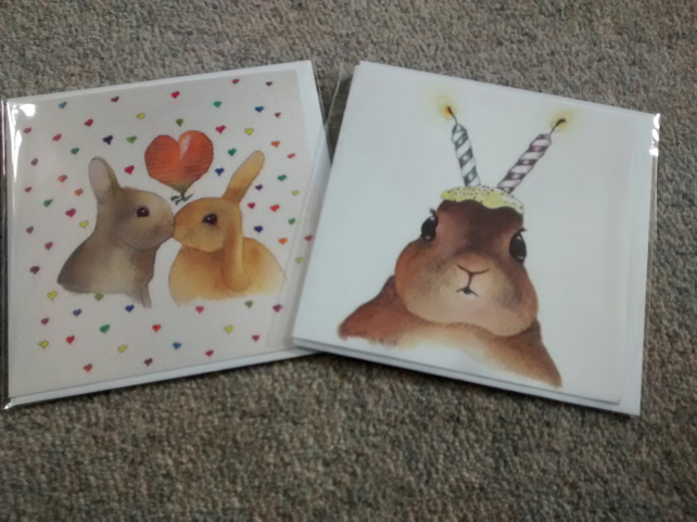 Rabbit with candle ears and Rabbits in love, 2 Rabbit cards!