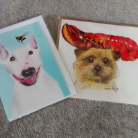 White Bull Terrier with bee and Norfolk Terrier, two dog cards