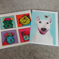 White Bull Terrier with bee and Pop Art Terriers, two dog cards