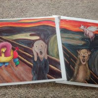 Two card like Munch's The Scream, one with a poodle and one with a pig!
