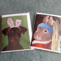 Bunny with a Pearl Earring and Doberman Puppy with bunny ears, 2 cute cards!
