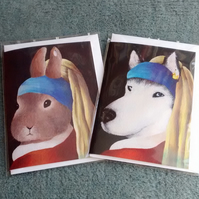 Husky with a Duck Earring and Bunny with a Pearl Earring, 2 cute cards!