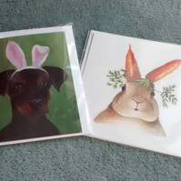 Bunny with Carrot Ears and Doberman Puppy with bunny ears, 2 cute cards!