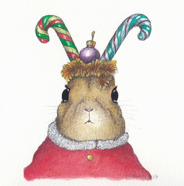 Rabbit with Candy Cane ears Christmas card