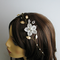 Gold Leaf and French Beaded Flower Bridal Hair Vine, Wedding Hair Accessory