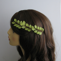 Frosted Leaves Bridal Hair Pins, Green Leaves Hair Pins