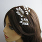 White Frosted Leaves Bridal Hair Pins, Handmade Bridal Hair Pins
