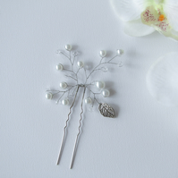 Crystal and Pearl Bridal Hair Pin, White Pearl and Leaves Wedding Hair Pin